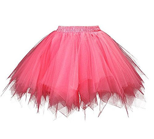 Kileyi Womens Tutu Costume Adult Party Dance Tulle Skirt Short Fluffy Petticoat Watermelon -