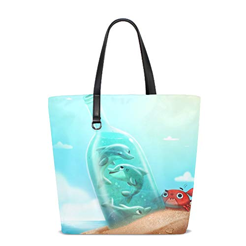 Dolphin Briefcase - Women Tote Bag Notebook Shoulder Bag Lightweight Polyester Business Work Office Briefcase The Dolphins