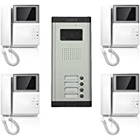 Apartment Wired Video Door Phone Audio Visual 4.3 Screen Intercom Entry System 4 Units