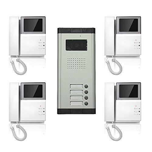 Apartment Wired Video Door Phone Audio Visual 4.3'' Screen Intercom Entry System 4 Units