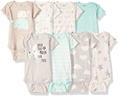 Give your little one the best with this 8-pack of baby boy or girl unisex short sleeve onesies bodysuits from Gerber! the neutral screen-print and puff print designs combine to create fun outfits that little ones will love. Each bodysuit is u...