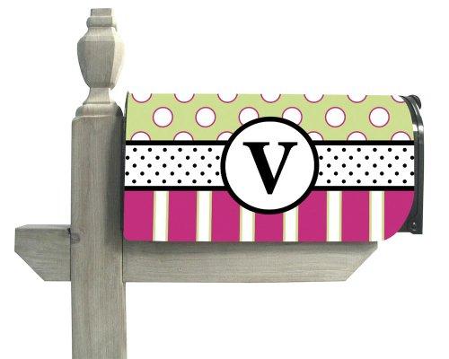Line Standard Sized Monogram - Monogram Peppy Pink Polka Dot Magnetic Mailbox Cover - V