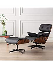 Lounge Chair and Ottoman Mid Century Chair Premium Replica Classic Furniture - Full Grain Leather, Plywood and Heavy Duty Swivel Base Support
