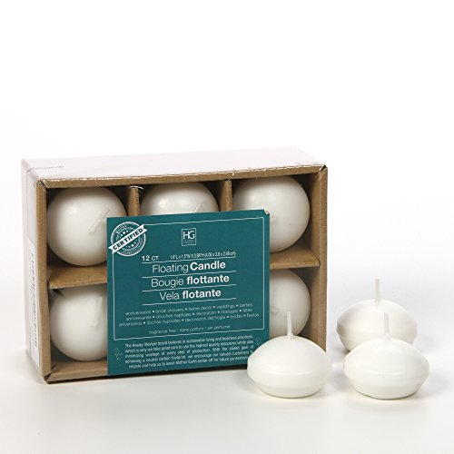 Hosley Set of 12, White Unscented Water Floating Mini Candle Discs- 1.6