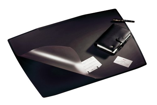 DURABLE Desk Pad with Transparent Overlay, Trapezoidal Shape, 26-3/4 x 20-3/4 Inches, Black (720101)