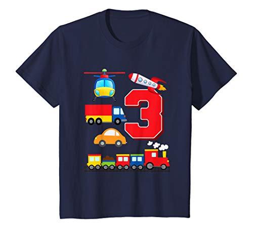 Kids Boys Transportation 3rd Birthday T-Shirt Trains Space Trucks