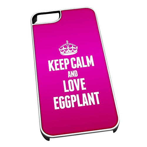 Bianco cover per iPhone 5/5S 1065 Pink Keep Calm and Love melanzana