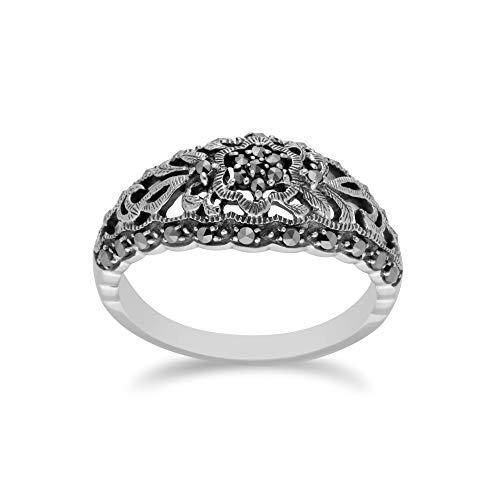 Gemondo 925 Sterling Silver Marcasite Art Nouveau Ring