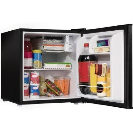Black 1.7 Cu Ft Compact Reversivle Door Refrigerator With Wire Shelf And Convenient Adjustable Door Perfect For Your Home Game Room, Dorm Room Or Any Other Smaller Living Space