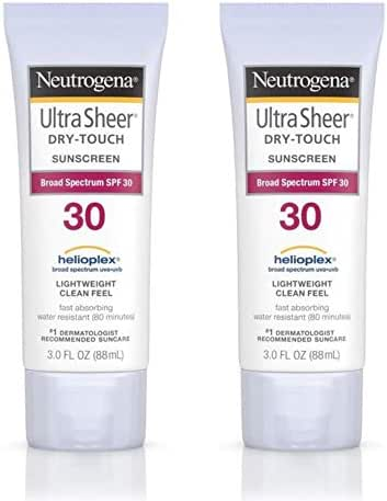Neutrogena Ultra Sheer Dry-Touch Sunscreen Lotion, Broad Spectrum SPF 30 UVA/UVB Protection, Oxybenzone-Free, Light, Water Resistant, Non-Comedogenic & Non-Greasy, Travel Size, 3 fl. Oz (Pack of 2)