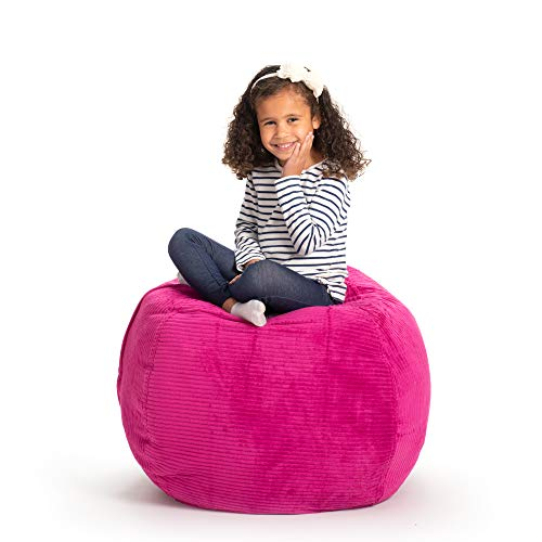 Creative QT Stuffed Animal Storage Bean Bag Chair - Large Stuff n Sit Organization for Kids Toy Storage - Available in a Variety of Sizes and Colors (33, Hot Pink Corduroy)