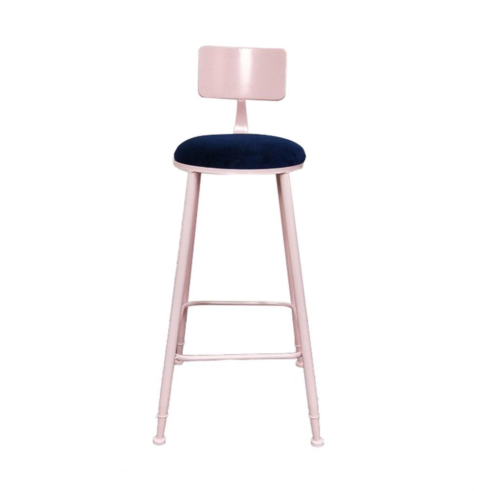 3 Bar Backrest Chair, Household Balcony Leisure Stool High Stool European Style Metal Front Desk Cash Register Chair, 45  45  75CM (color    2)