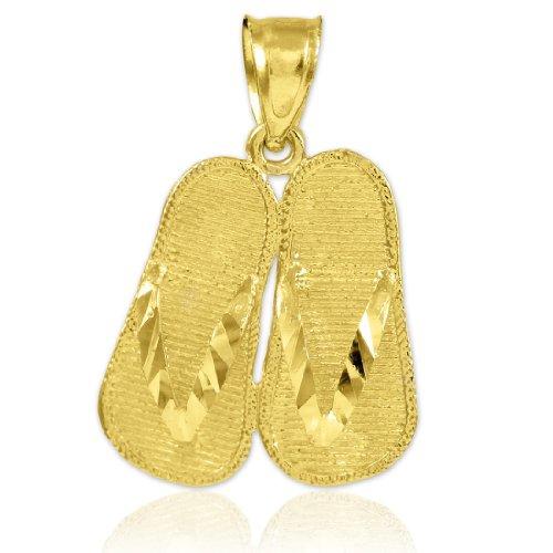 14k Gold 3d Flip Flops Summer Charm Sandal Pendant ()