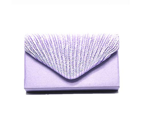 Nodykka Women Evening Envelope Rhinestone Frosted Handbag Party Bridal Clutch Purse,One Size,Light Purple
