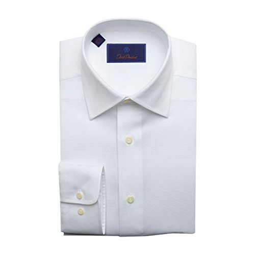 David Donahue Men's Regular Fit Royal Oxford Dress Shirt White -
