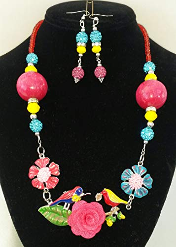 Birds on Flower Set - Genuine Pink Jade and Crystals Necklace and Earrings Set