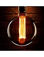 Auraglow Mysa LED-glödlampa – vintage retro rustik Edison-stil dekorativ energieffektiv tråd E27 skruv G125 glob form