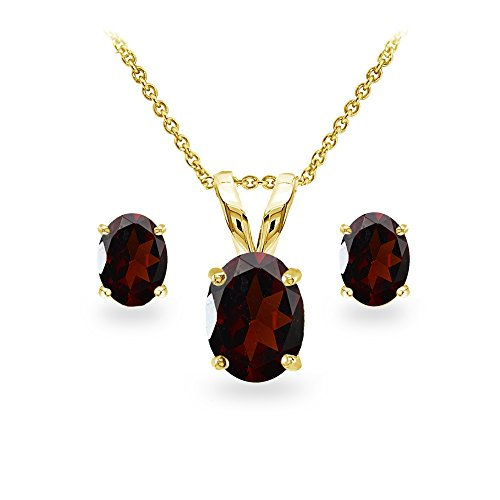 GemStar USA Yellow Gold Flashed Sterling Silver Garnet Oval-cut Solitaire Necklace and Stud Earrings Set ()