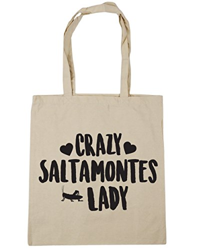Hippowarehouse Grasshoppers Crazy Lady Beach Bag With Handles Shopping Bag 42cm X 38cm For Fitness Natural Capacity 10 Liters