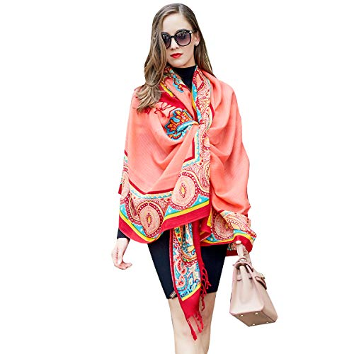 DANA XU Pure Wool Ponchos Blanket for Women Large Pashmina Shawls and Wraps (Watermelon red)