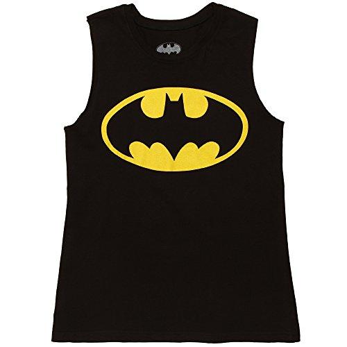 Batman Logo Juniors Muscle Tank Top - Black (Medium)