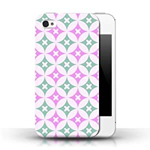 KOBALT? Protective Hard Back Phone Case / Cover for Apple iPhone 4/4S | Hot Pink/Green Design | Kaleidoscope Pattern Collection