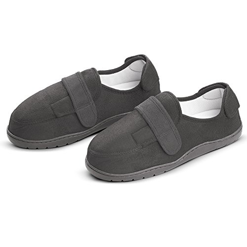 Collections Etc Mens Adjustable Memory Foam Wide Comfort Slipper, Black, Large