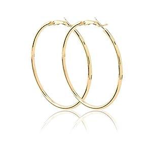 """Women Gold Hoop Earring 2"""" Stunning Stainless Steel Earring from Omnfas"""