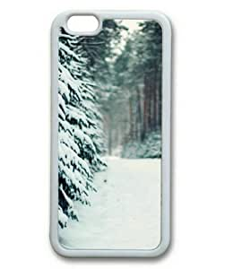 iphone 5 5s Case, Winter Forest Path Custom Case for iphone 5 5s Soft TPU Material White