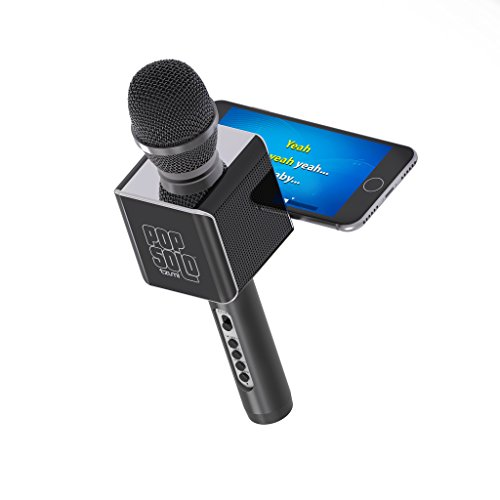 PopSolo Bluetooth Karaoke Microphone and Speaker With Retractable Smartphone Holder - Compatible With Most Karaoke Apps - Rechargeable and Wireless - Black