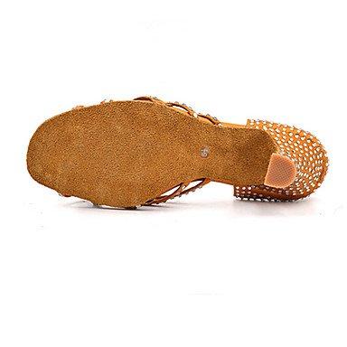 XIAMUO Anpassbare Damen Tanz Schuhe Satin Latin/Jazz/Swing Salsa Schuhe/Sandalen/Fersen angepasste HeelPractice/Anfänger, Khaki, US 9 / EU 40/UK7/CN41