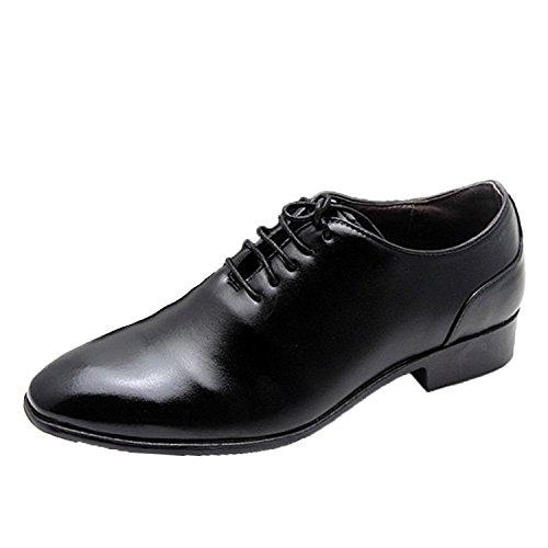 Nonbrand schwarz/weiß Hochzeit Party Cuban Heel Boss Schuhe Synthetik Leder Oxford Schnürhalbschuhe Schwarz