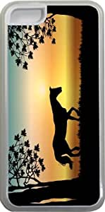 Rikki KnightTM Horse Silhouette on Aqua Sunset Design iPhone 5c Case Cover (Clear Rubber with bumper protection) for Apple iPhone 5c