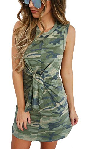 MNLYBABY Women Camouflage Printed Tie Sleeveless Mini Dress Summer Casual Slim Tank Dress Size US 4-6/Tag M (Green)