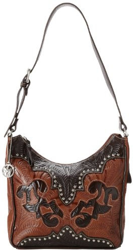 Chocolate Leather Zip Hobo Bag - 4