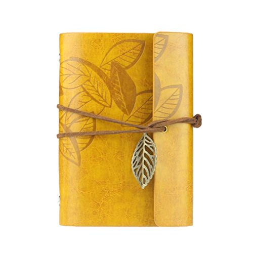 Leather Notebook, Paymenow Vintage Loose Leaf Blank Retro Journal Writing Diary Bound Note book (Yellow)