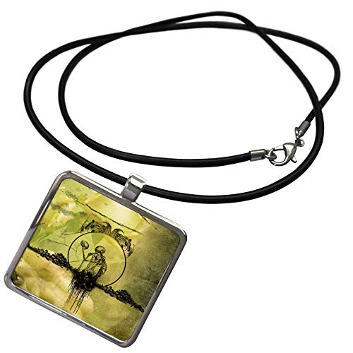 Necklace Awesome Photo - 3dRose Heike Köhnen Design Sign Symbol - Awesome Skeleton with Skulls - Necklace with Rectangle Pendant (ncl_293101_1)