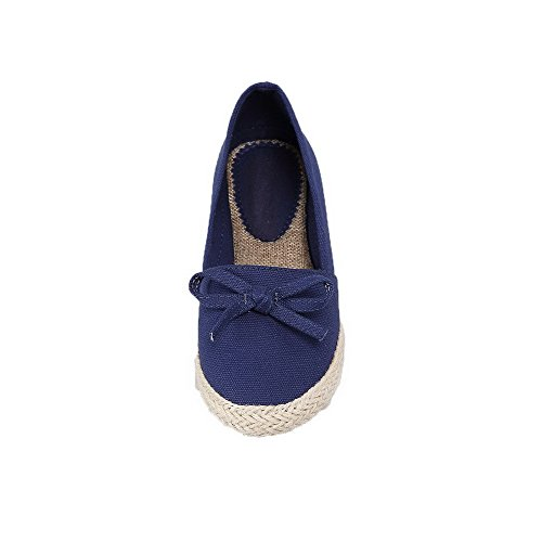 Pumps Heels Shoes Toe Solid WeenFashion Blue Women's Fabric Round Low On Pull 4SnzUqwx