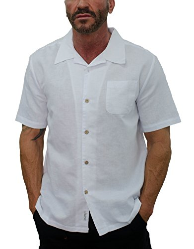 Short Fin Men's Short Sleeve Camp Linen Shirt (X Large, White L8041)