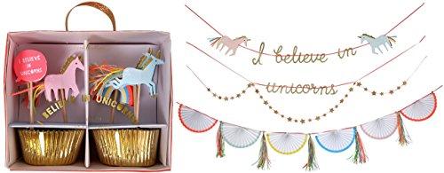 Meri Meri I Believe in Unicorns Party Pack - Cupcake Kit and Garland