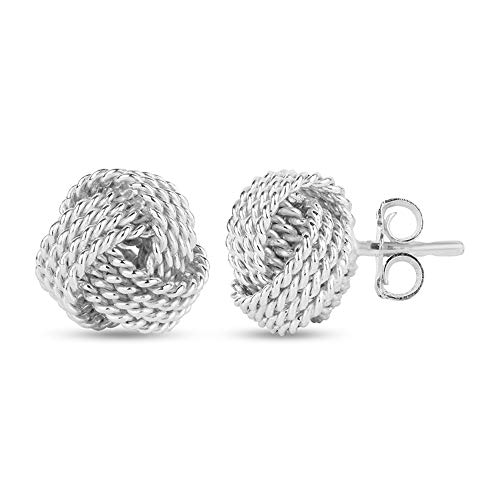 LeCalla Sterling Silver Jewelry Italian Design Diamond Cut Wire Love Knot Stud Earrings for Women