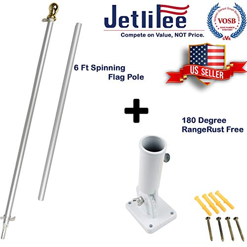 - Jetlifee 6ft Aluminum Tangle Free Spinning Flag Pole and Multi Position Flag Pole Mounting Bracket Veterans Owned Biz. No Tangle Spinning Pole Silver Colored Globe Rust Free Wind Resistant