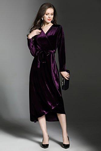 Ballkleider Damen Abendkleider V Samt Ausschnitt Elegante Midi Hochzeit Langarm Ababalaya Brautjungfer Gürtel 90s Violett mit 8wqUd8P