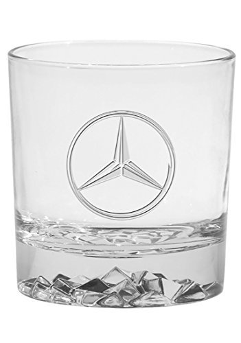 Mercedes Benz Set of 2 Rocks Glasses with Etched Star Logo - Logo Etched Glass