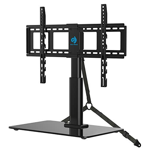 HUANUO TVS03 Universal Tabletop TV Stand Holder for 32 to 60 Inch Flat Screen Television with 70 Degrees Swivel, 4 Height Adjustments, Anti-Tip Strap, Tempered Glass Base, VESA up to 600x400, Black ()