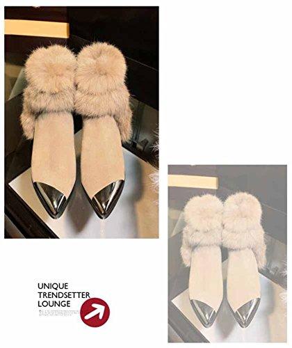 Tacon Felpa Botines Botas Bajo Conejo Nieve Mujer Cómodo Calentar Clásico De Pelo Yellow De 1q7PHx8g