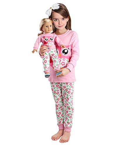 Girls Matching Doll&Toddler OWL 4 Piece Cotton Pajamas Kids Clothes Sleepwear Size 8