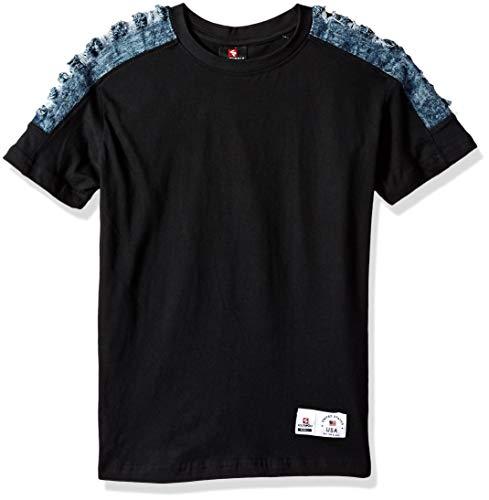 (Southpole - Kids Boys' Big Colorblock Short Sleeve Fashion Tee, Black Denim Pintuck,)
