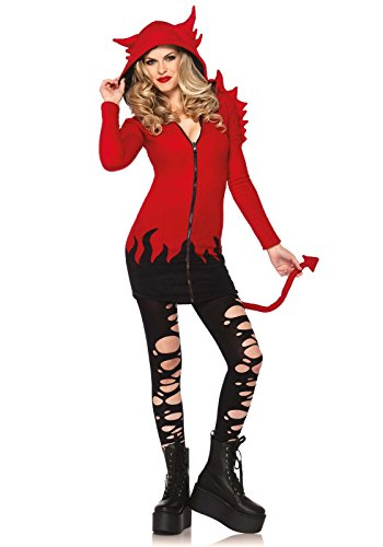 [Leg Avenue Women's Cozy Devil Costume, Red, Small] (Devil Halloween Costumes For Women)