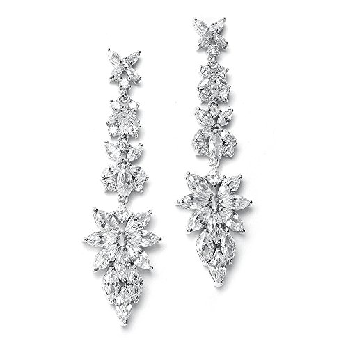 Mariell Luxurious Bridal Statement Earrings with Marquis Cut CZ Clusters - Wedding or Pageant Chandeliers ()